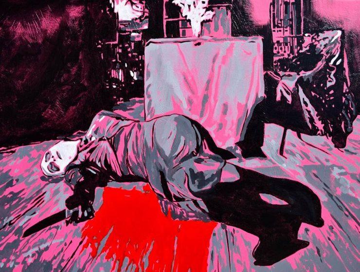 La muerte de un soñador de la serie Los soportables pesos del ser, 2016. Esmalte sobre vinil, 100 x 145 cm.
