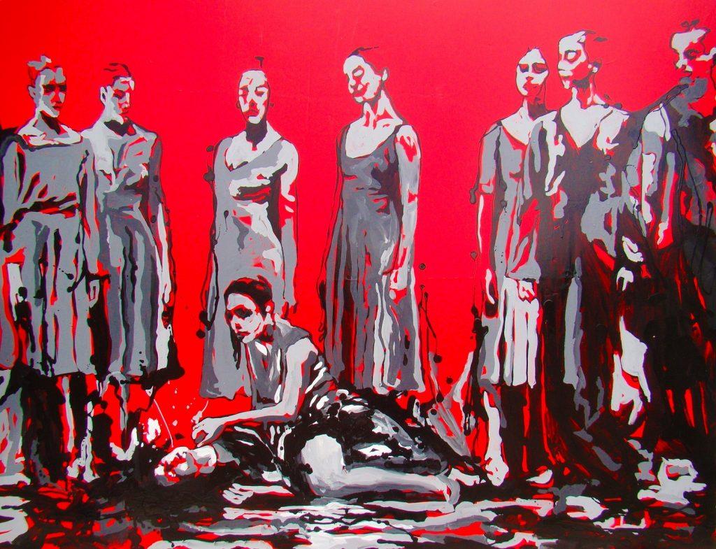 Revolución de la serie Escenas, 2015. Esmalte sobre vinil, 115 x 150 cm.