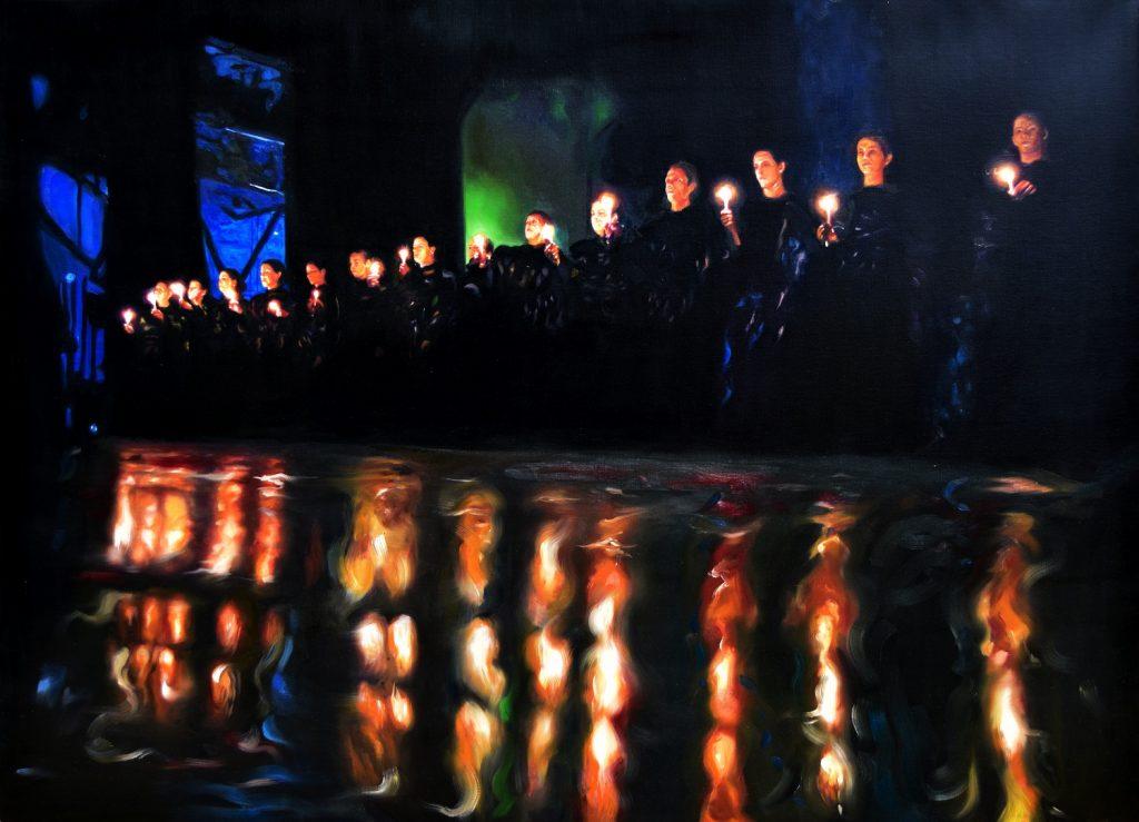 La marcha de las antorchas de la serie Los soportables pesos del ser, 2016. Óleo sobre lienzo, 100x145 cm
