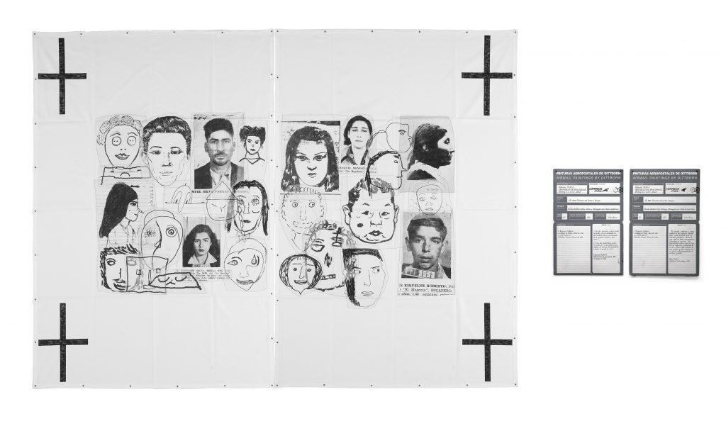 Eugenio Dittborn, La XXIV historia del rostro (cruza). Pintura aeropostal No. 141, 2002. Colección FEMSA