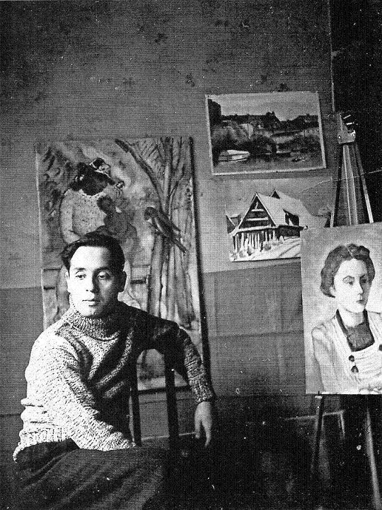 Israel Roa en su taller (1950)