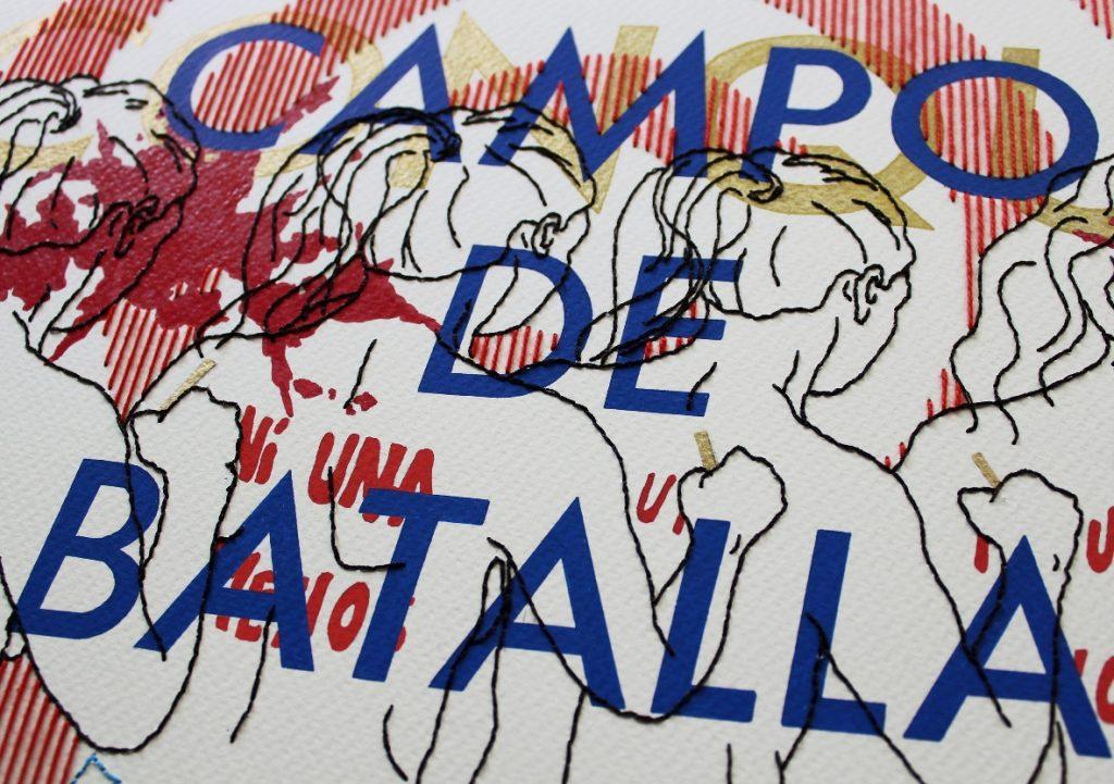 Andrea Barrios, NO SOMOS UN CAMPO DE BATALLA Textil. Costura, corte y pliegue. 64 x 89.5 cm, 2017-2018
