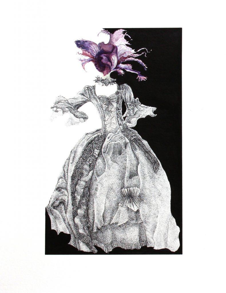 Fernanda López. Y las plantas desfallecían en las urdimbres del nidal (2018). 42 x 29 cm, tinta y acuarela sobre papel