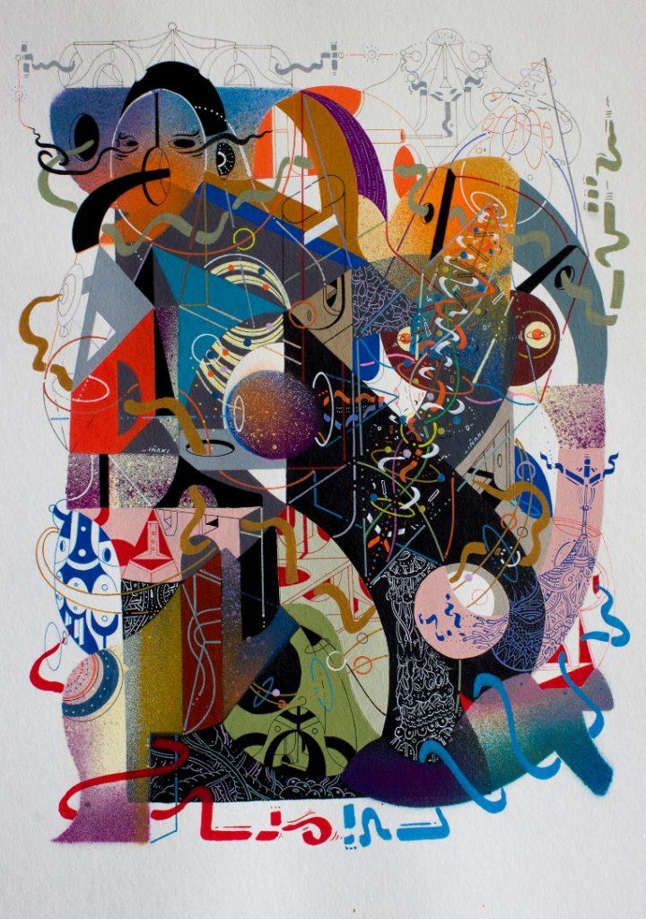 Iñaki Muñoz. Por aqui pasaron las formas (2017) tecnica mixta sobre papel, 35 x 25 cm