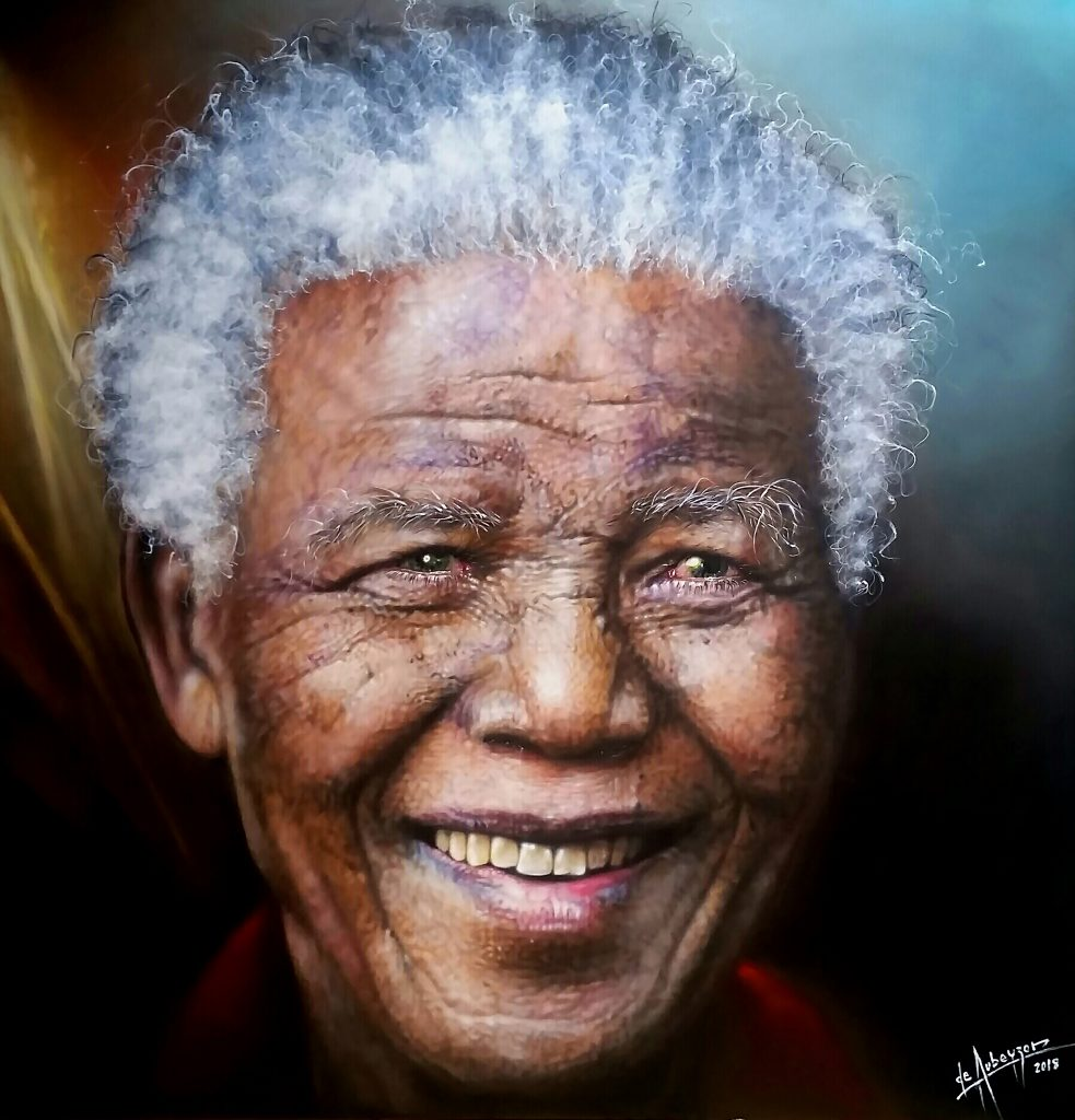 La sonrisa de Mandela (Lápiz y óleo sobre tela - 2.00x2.00m.)
