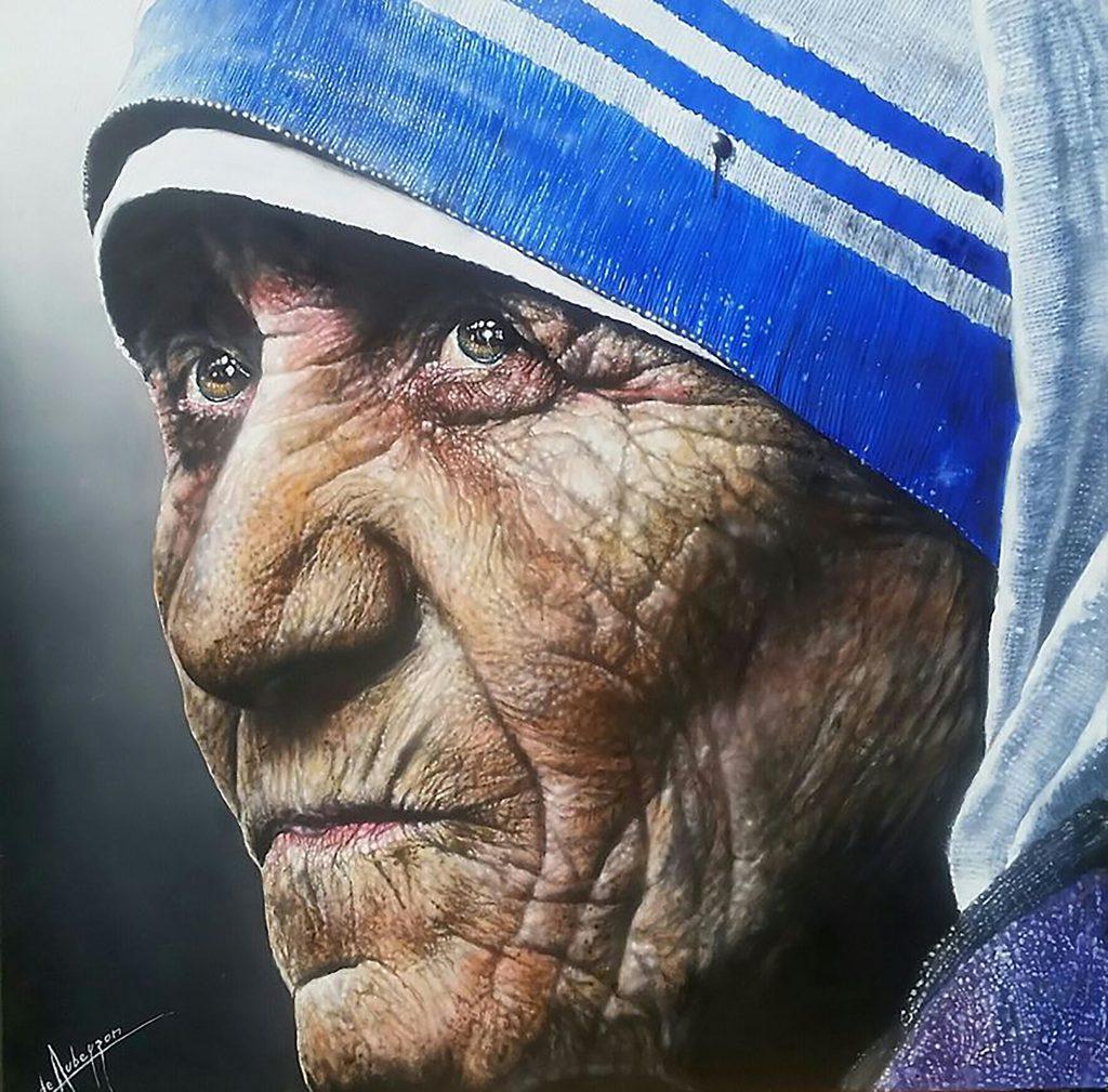 Madre Teresa (Lápiz + óleo sobre tela-1.20x1.20m.)