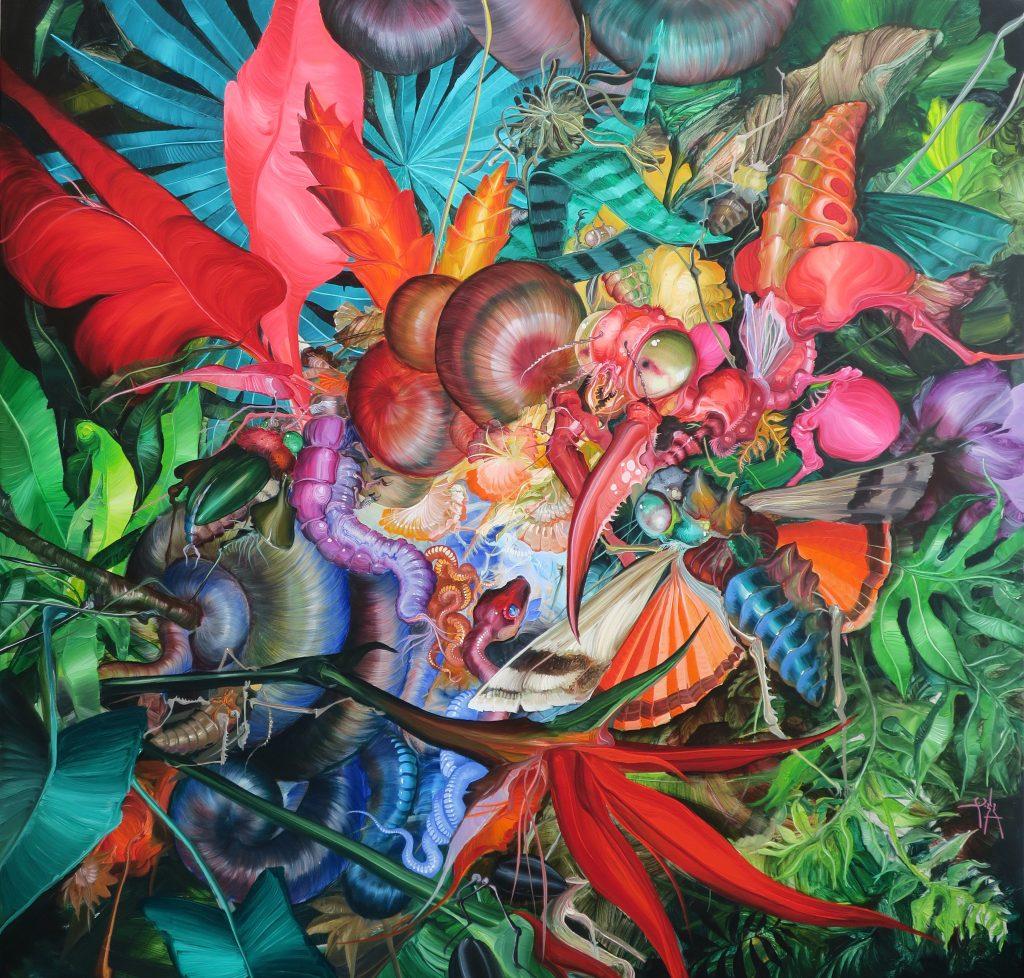 El fin de la cosecha. óleo sobre tela 120 x 120 cm. 2018. José Luis Carranza en Galería Enlace