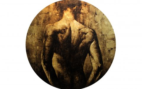 De la serie Ritual, 2018, óleo sobre tela y pan de oro, 150 cm. de diámetro.