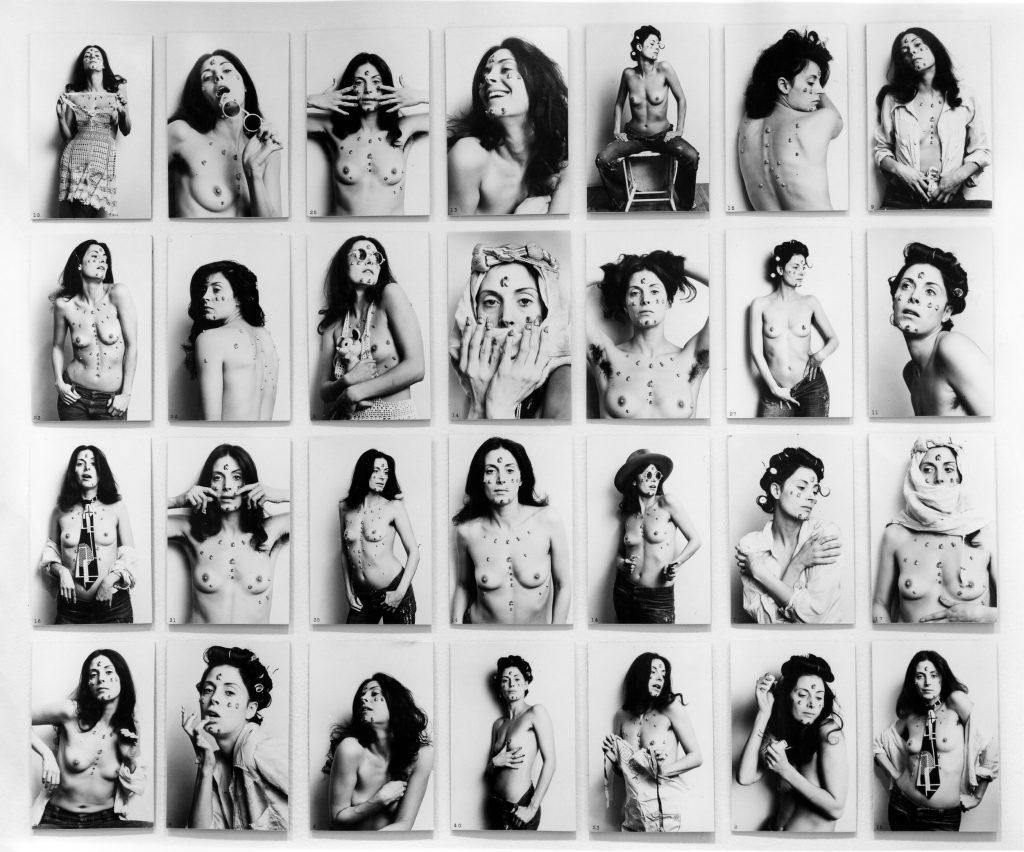 Hannah Wilke S.O.S. Starification Object Series, 1974 28 black and white photos 5 x 7 inches each Courtesy Ronald Feldman Fine Arts, New York
