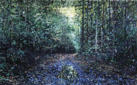 """Lorenzo Moya, """"Agua"""", 2019, óleo sobre tela, 70 x 180 cm,"""
