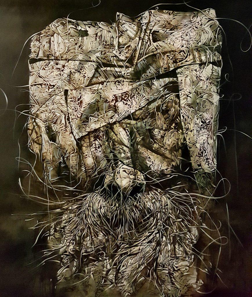 La Profecía del Tiempo, 2017, óleo sobre tela, 78 x 74 pulgadas.
